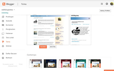 tampilan dasbor blog untuk mengganti template ke template contempo