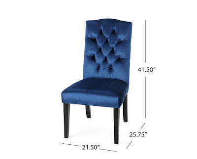 Joyce Traditional Crown Top Navy Blue Velvet Dining Chairs