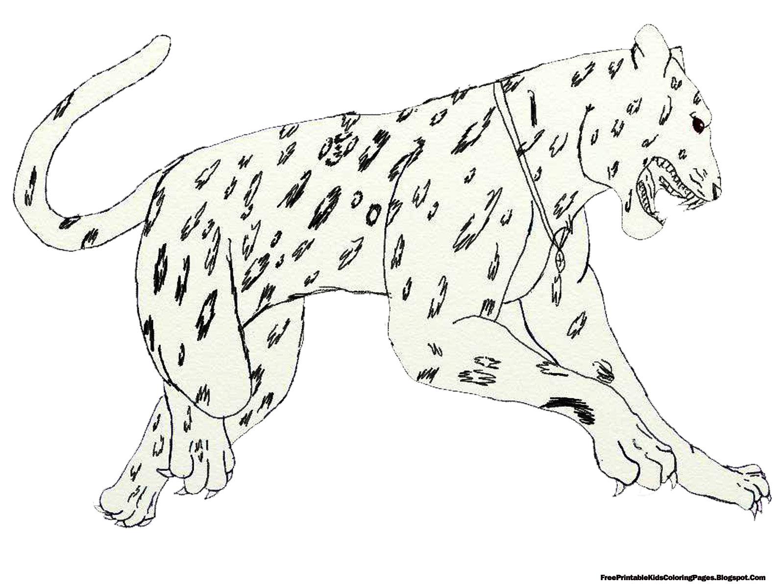 Jumping Jaguar Kids Coloring Pages