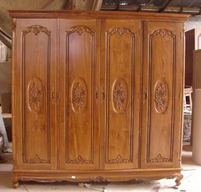 lemari pakaaian kayu jati 4 pintu