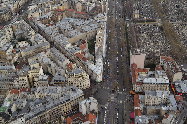 Streets of Paris as seen from above (La Tour Montparnasse)