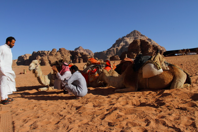 Local meeting in the gorgeous desert of Wadi Rum, Jordan