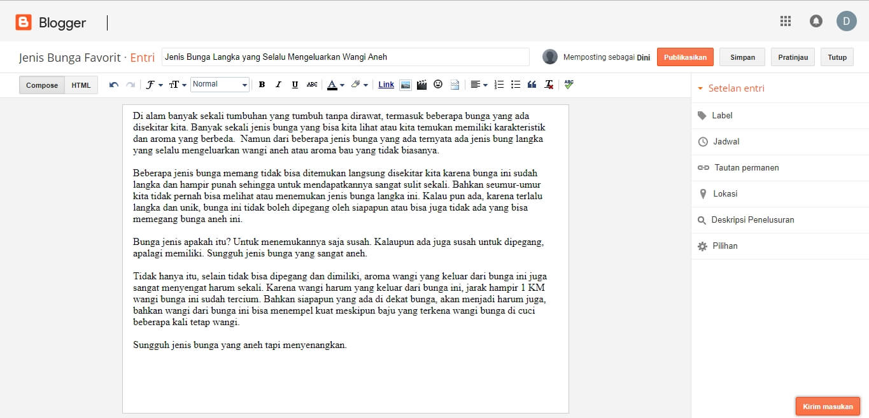 Membuat Artikel Blogspot