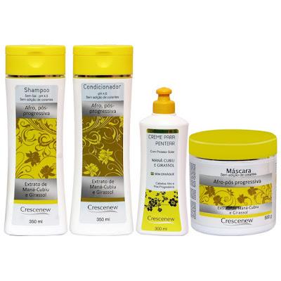 Shampoo, condicionador, creme de pentear e máscara capilar óleo de girassol cabelo afro