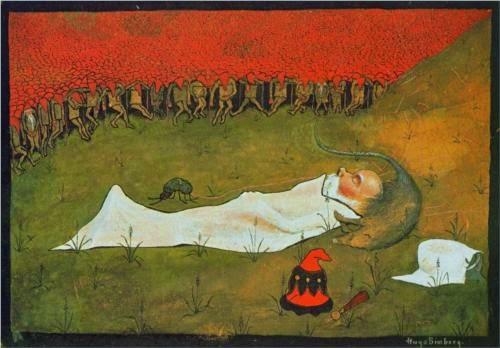 Rei Duende Macabro Dormindo - Hugo Simberg e seus simbolismos ~ O artista ansiava por solidão e paz