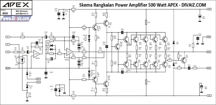 Skema Rangkaian Power Amplifier 500 Watt APEX Untuk Sound Lapangan