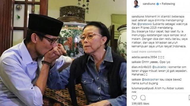 Ibunda Sandiaga Uno Sampai Tak Tidur Usai Keputusan Jadi Cawapres Prabowo Subianto