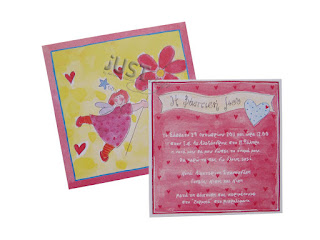 Christening invitations fairy fuchsia-yellow C1103