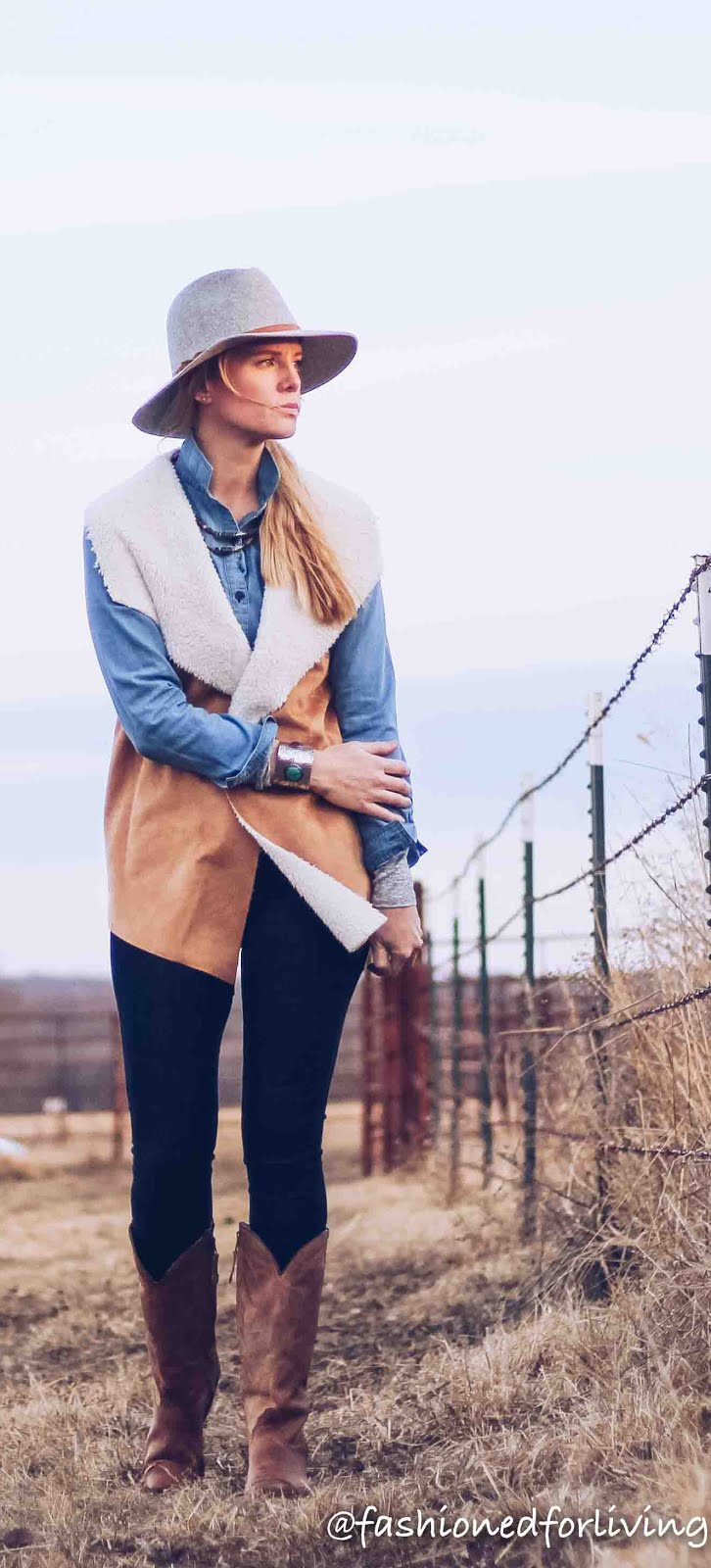 Fashioned For Living Shearling Vest With Cowboy Boots