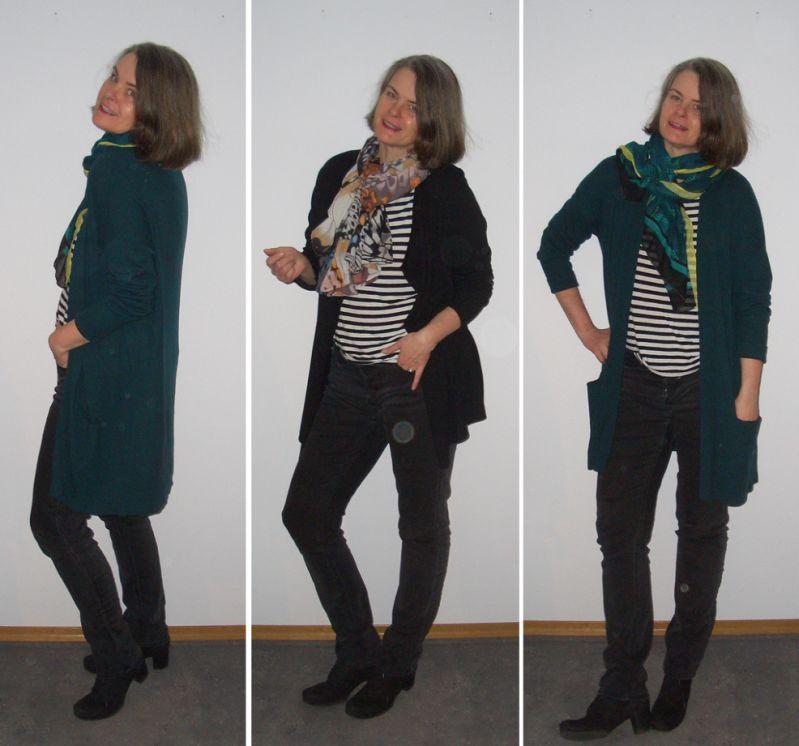 Büro: Farbige Strickjacken zu Ringelshirt und Jeans