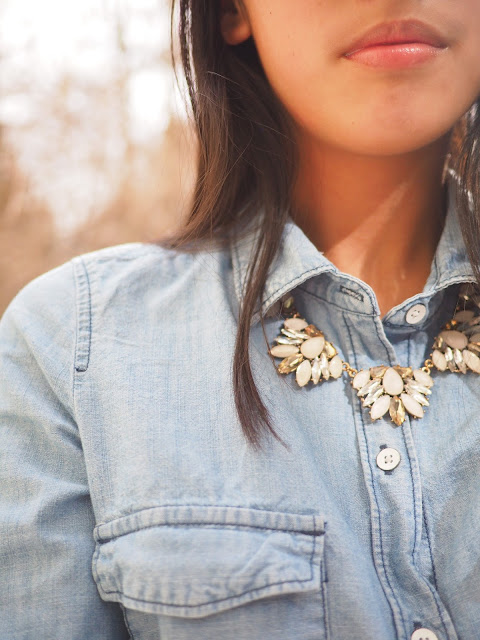 Chambray, Necklace, Skater Skirt