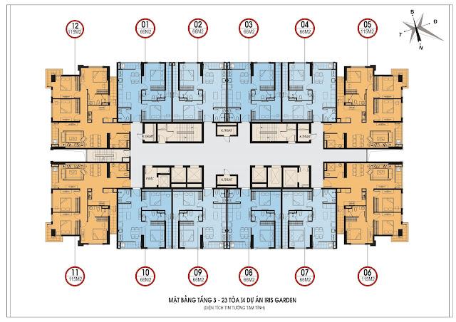 Mặt bằng thiết kế tầng căn hộ điển hình tòa I4 Iris Garden