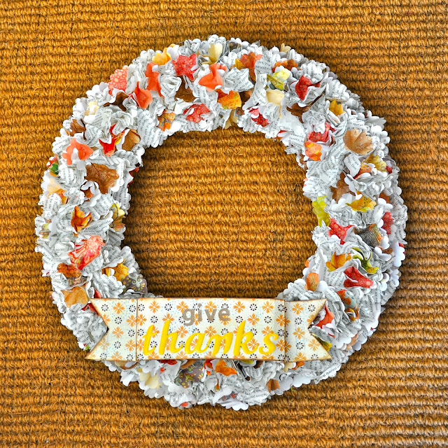 Fall Thanksgiving wreath tutorial from old book paper