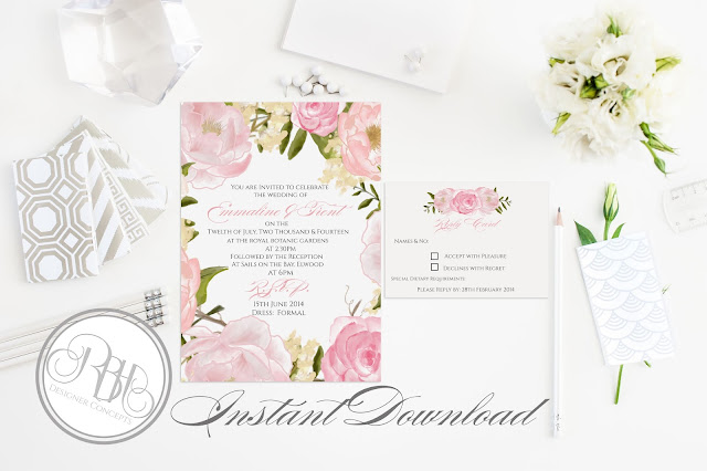 Dusty Pink Peonies, Roses, Wedding Invitation, RSVP, Reply Card, template