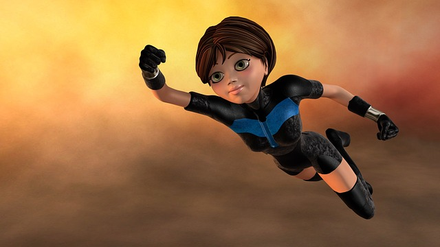 Super Woman Flying 3d Figure Female Young