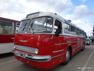 Exhibición de autobuses retro en el puerto de Tallin