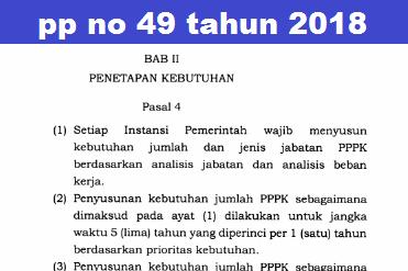 PP NO 49 2018 TENTANG PPPK UNTUK REKRUTMEN TENAGA HONORER