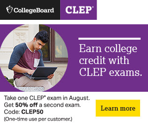 Photo of student with laptop. Accompanying text states Earn college credit with CLEP exams.