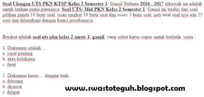 Soal Ulangan UTS PKN KTSP Kelas 2 Semester 1/ Ganjil Terbaru 2016