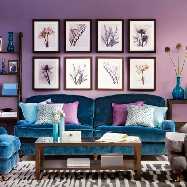 Salas en color morado violeta y lila salas con estilo for Decoracion paredes sala