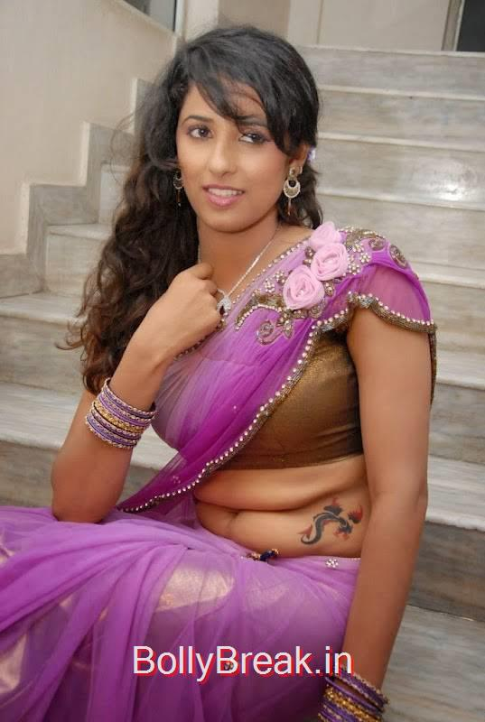 Sravya Reddy Photos, Sravya Reddy Hot HD Images In Violet Saree