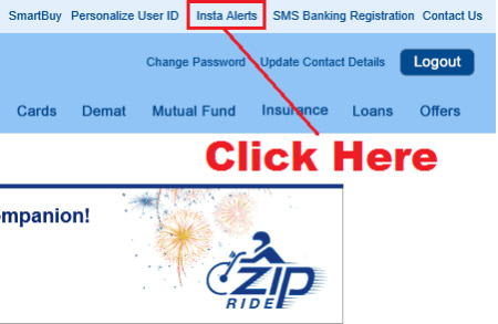 how to activate insta alert in hdfc bank online