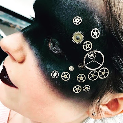 steampunk makeup how to DIY glue gears to your face