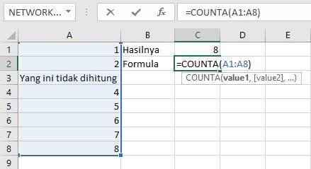 Count hanya menghitung jumlah sel yang berisi angka