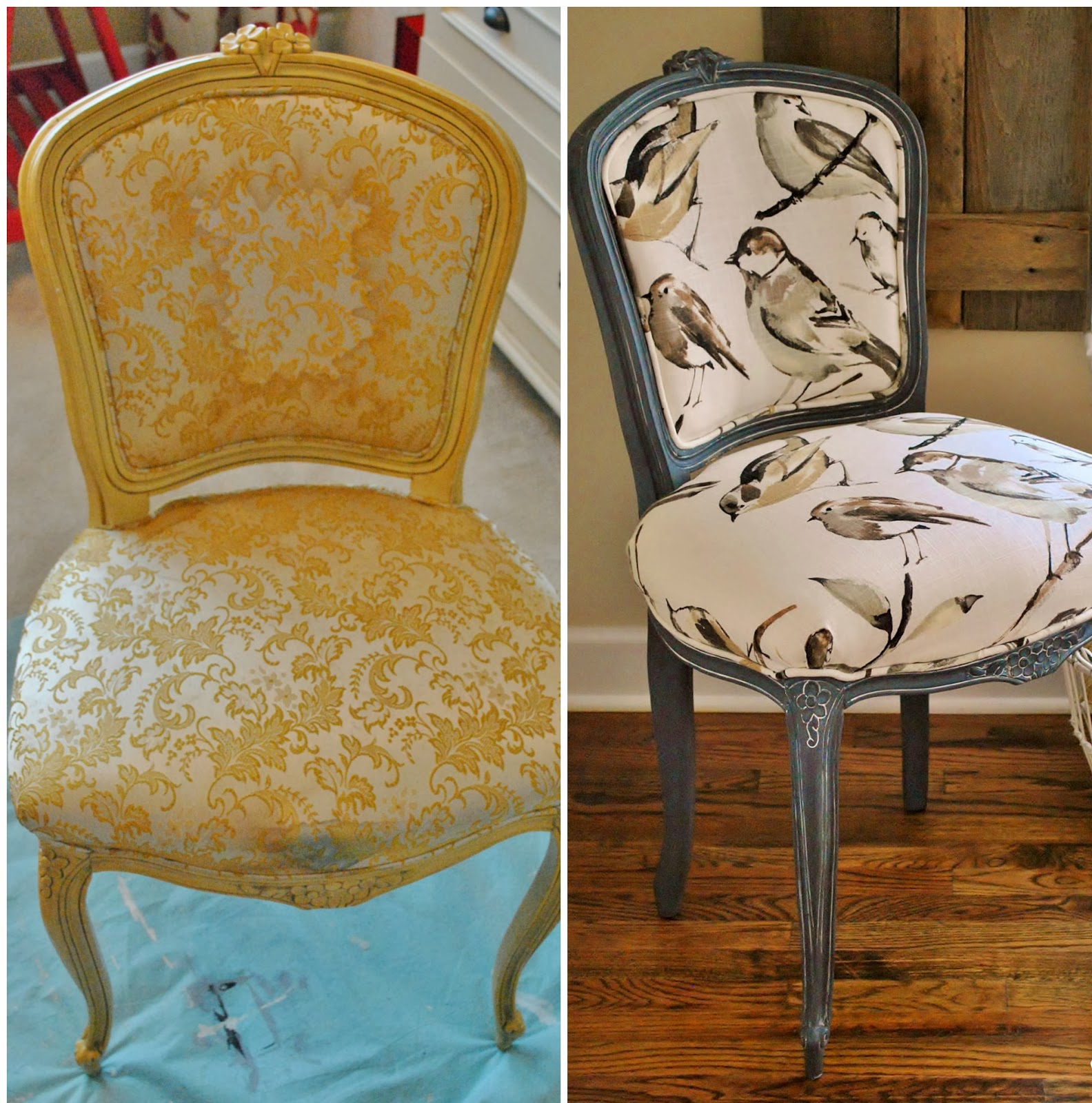 As You Can See Above This Chair Was In Desperate Need Of A Makeover But Beyond The Old Fabric Cute Little French Frame Good Condition