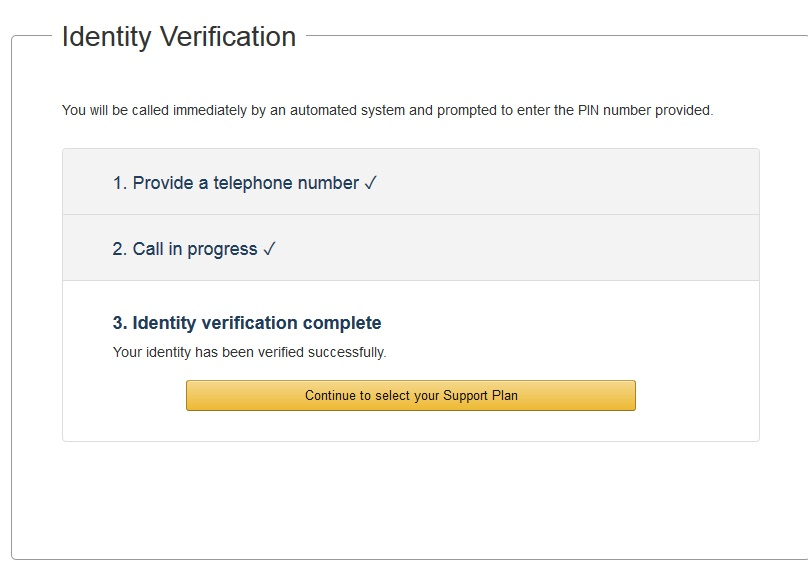 Indentity verification amazon thành công