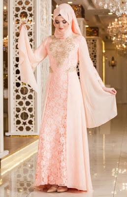Baju muslim brokat model gaun