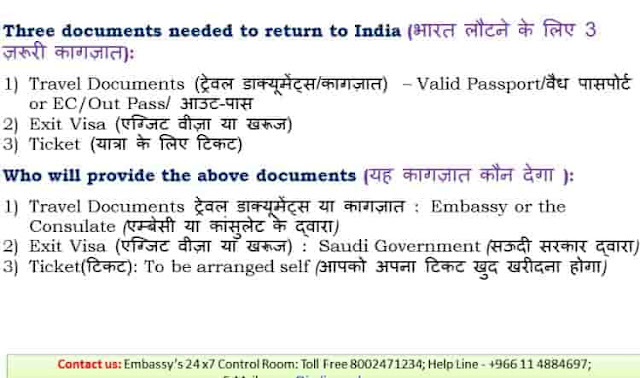 DOCUMENTS NEEDED TO RETURN TO INDIA