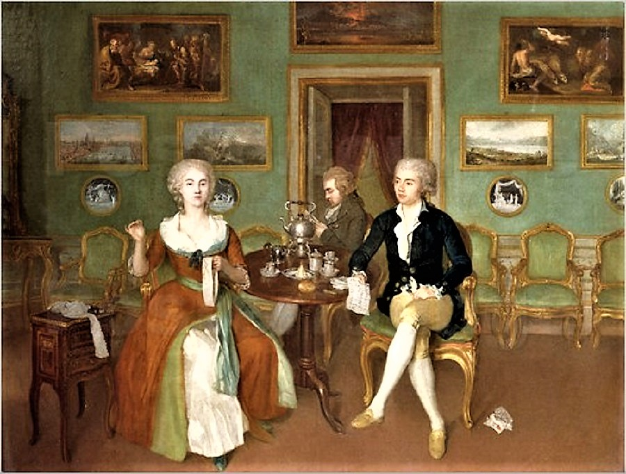 Philip Reinagle (British Painter, 1749 1833) A Lady And Two Gentlemen  Seated At A Tea Table