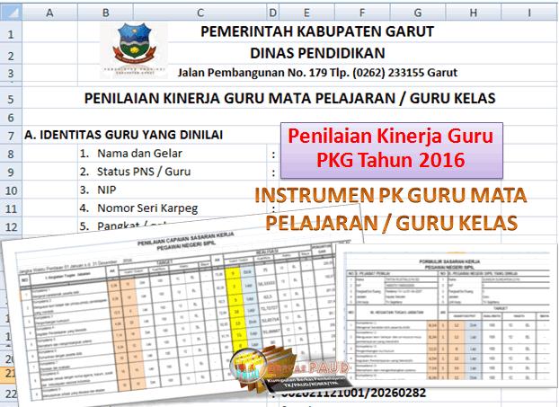 INSTRUMEN PK GURU MATA PELAJARAN / GURU KELAS TK PAUD RA