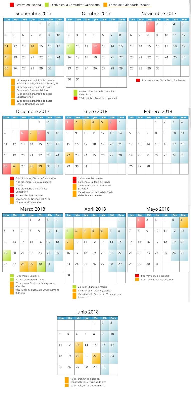 Calendario Escolar 2019 2020 Valencia.Calendario Escolar 2017 2018 Ceip Joan Fuster