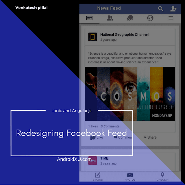 Facebook feed view in angular.js and ionic