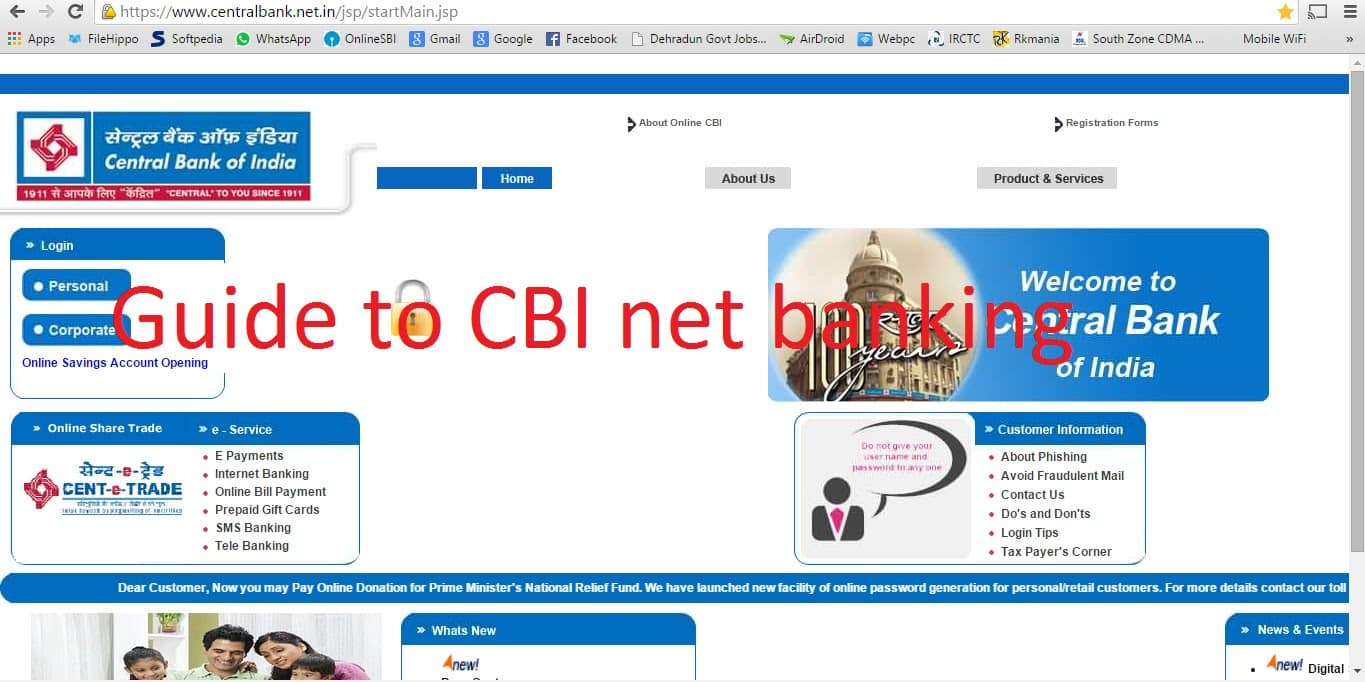 How to activate internet banking in central bank of india online