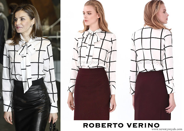 Queen letizia wore Roberto Verino Blouse