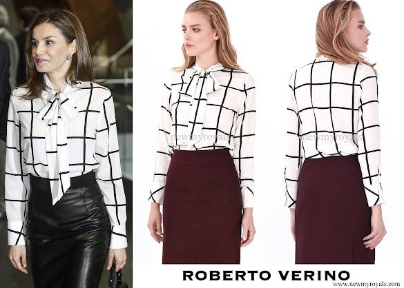 Queen letizia wore Roberto Verino Blouse