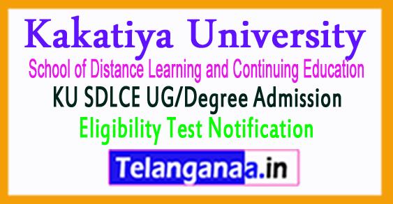 KU SDLCE UG/Degree Admission Eligibility Test Notification 2017
