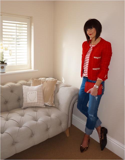 My Midlife Fashion, Zara Tweed Jacket, breton, Uniqlo striped long sleeve top, zara straight leg turn up jeans, leoaprd print shoes, animal print shoes, leather quilted handbag