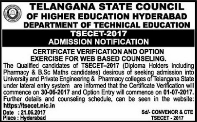Telangana ECET 2017 Counselling Notification