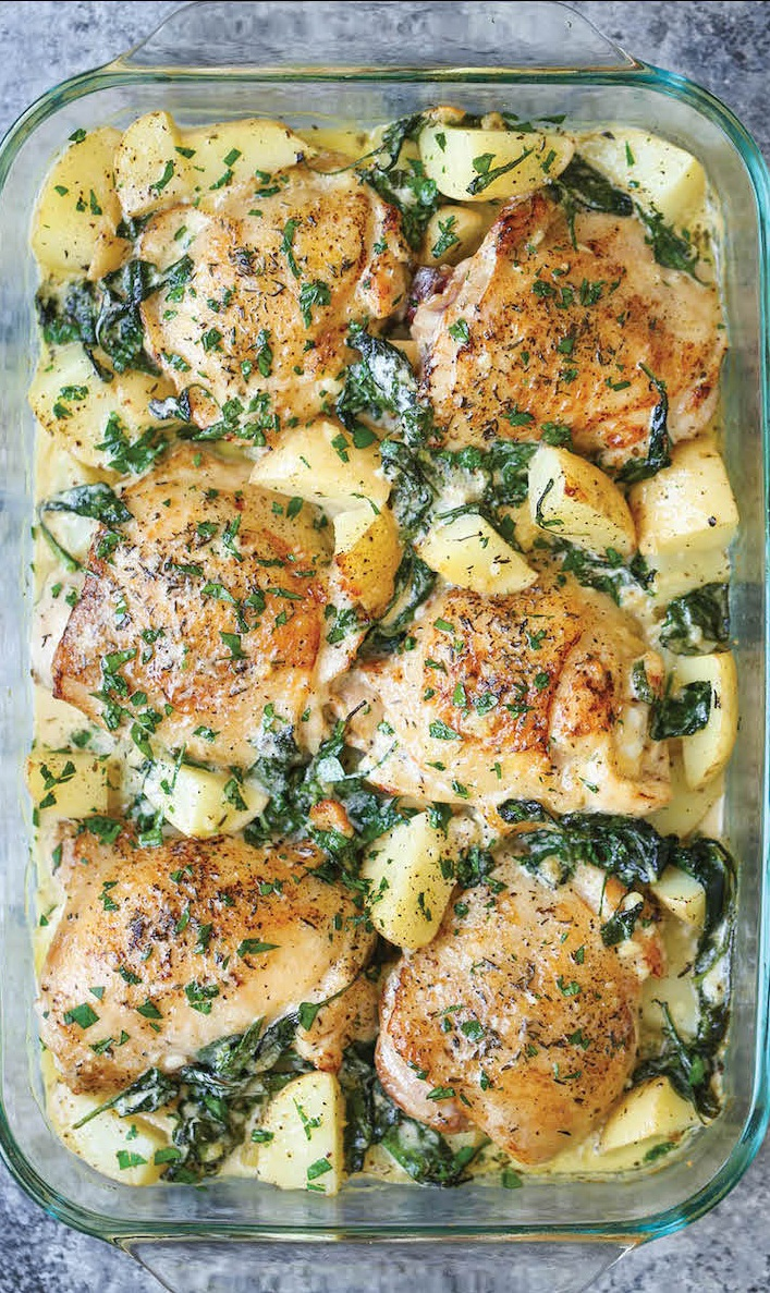 #Recipe : Chicken and Potatoes with Garlic Parmesan Cream Sauce