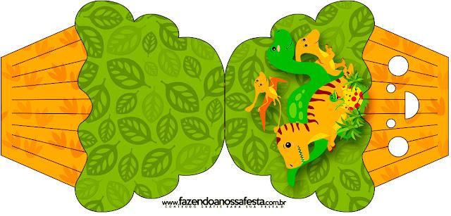 Tarjeta con forma de cupcake de Fiesta de Dinosaurios.