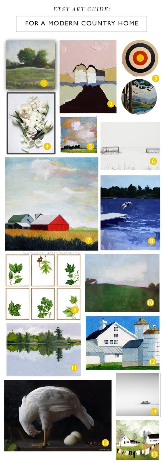 etsy art guide for the modern country home | ramblingrenovators.ca