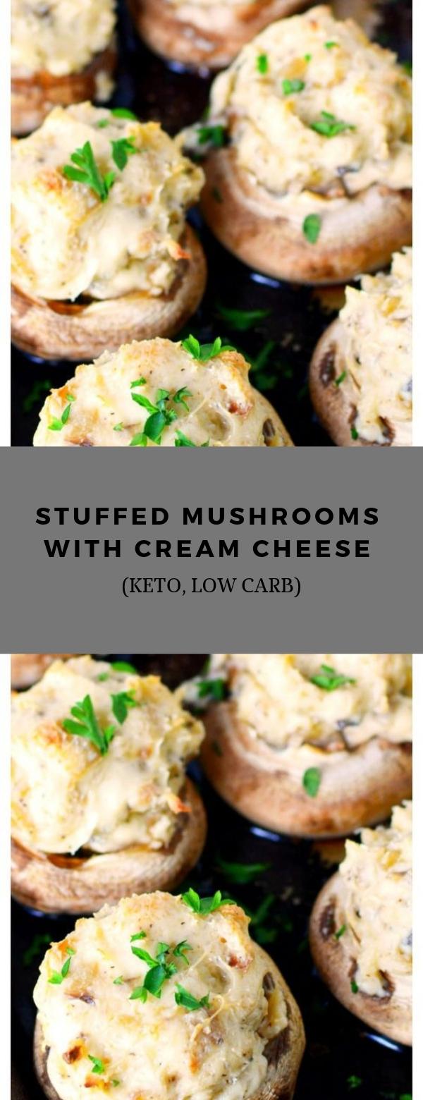 Stuffed Mushrooms with Cream Cheese (KETO, Low Carb) #keto #lowcarb #appetizer #vegetarian #sidedish