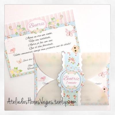 convite aniversário artesanal infantil personalizado 1 aninho floral azul rosa jardim encantado passarinhos delicado provençal menina