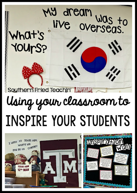 Do you want to inspire your students to go to college? To travel? To dream? Here are some simple ways to use your classroom to inspire your students to dream BIG!