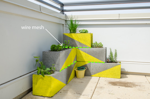DIY Neon Concrete Block Planter