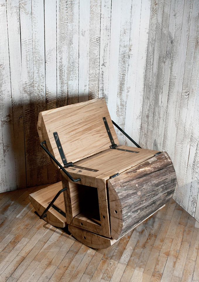 Diseño de sillón de madera